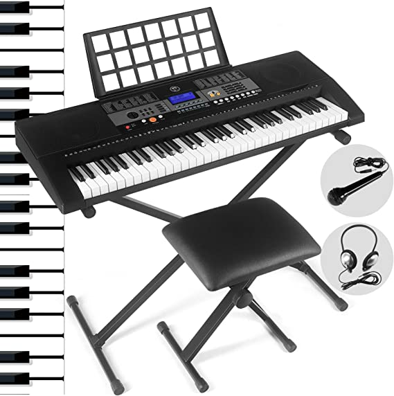 61 Key Portable Electronic Keyboard Piano Keyboard with LCD Screen,Headphones