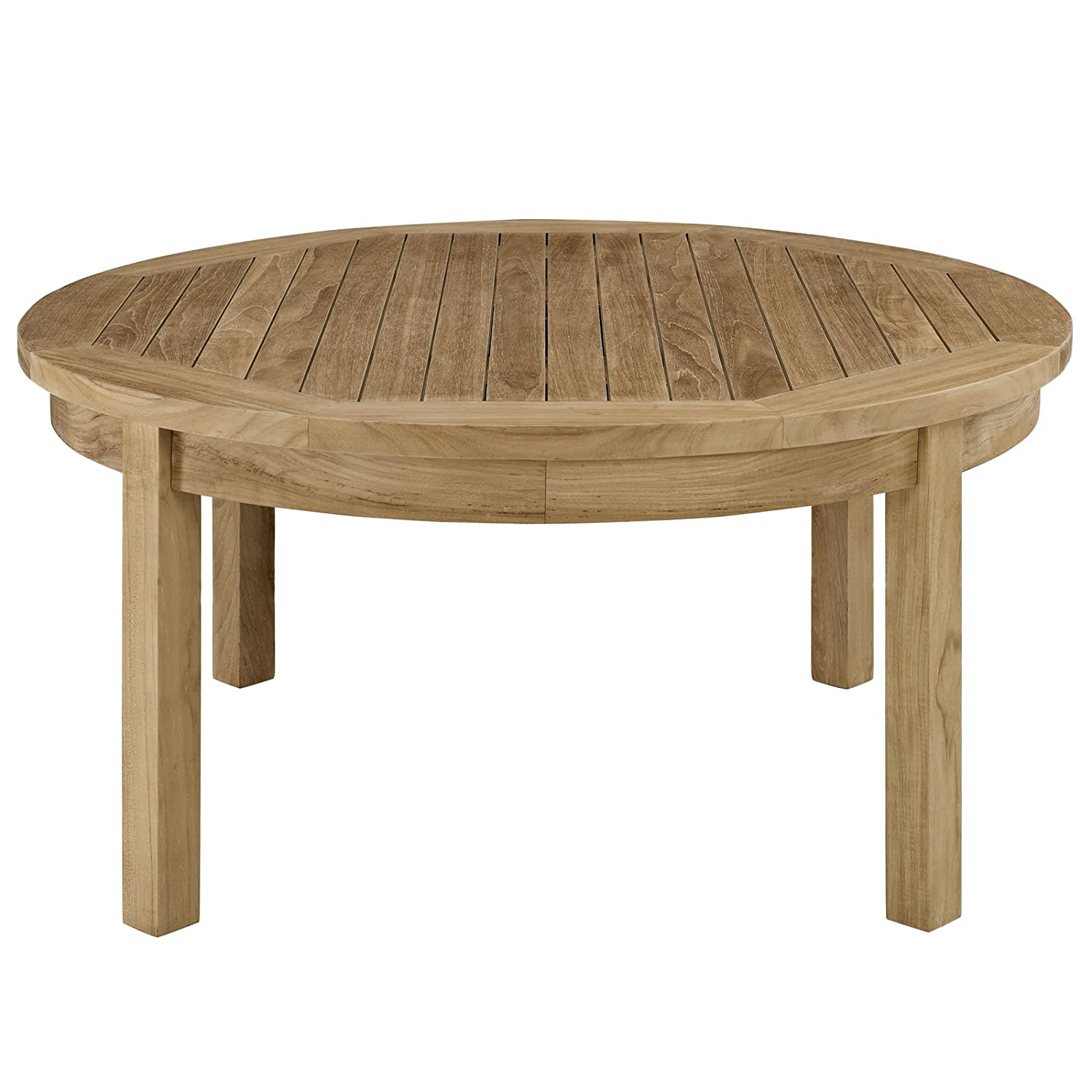Amazoncom Modway Marina Teak Wood Outdoor Patio Round Coffee Table