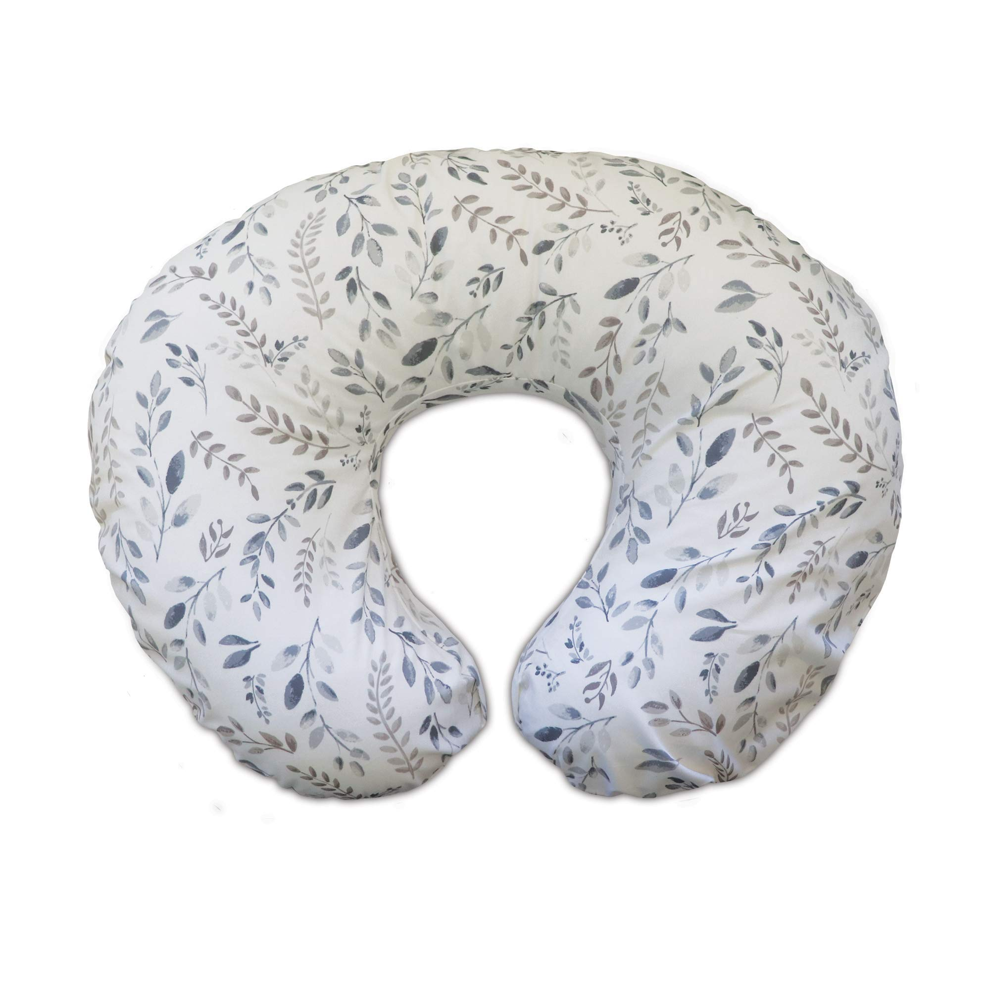 Boppy Original Nursing Pillow & Positioner, Gray Taupe Leaves, Cotton Blend Fabric with Allover Fashion by Boppy