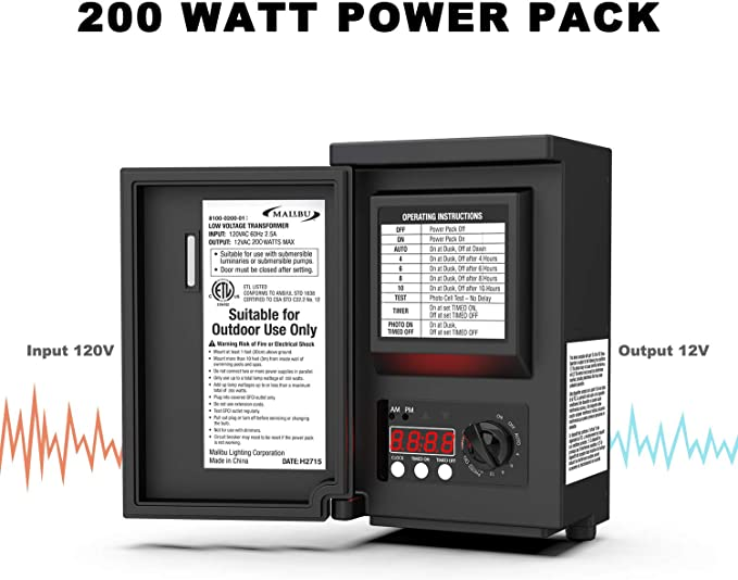 Landscape Transformer 200-Watt Low-Voltage Digital Timer Remote Photocell