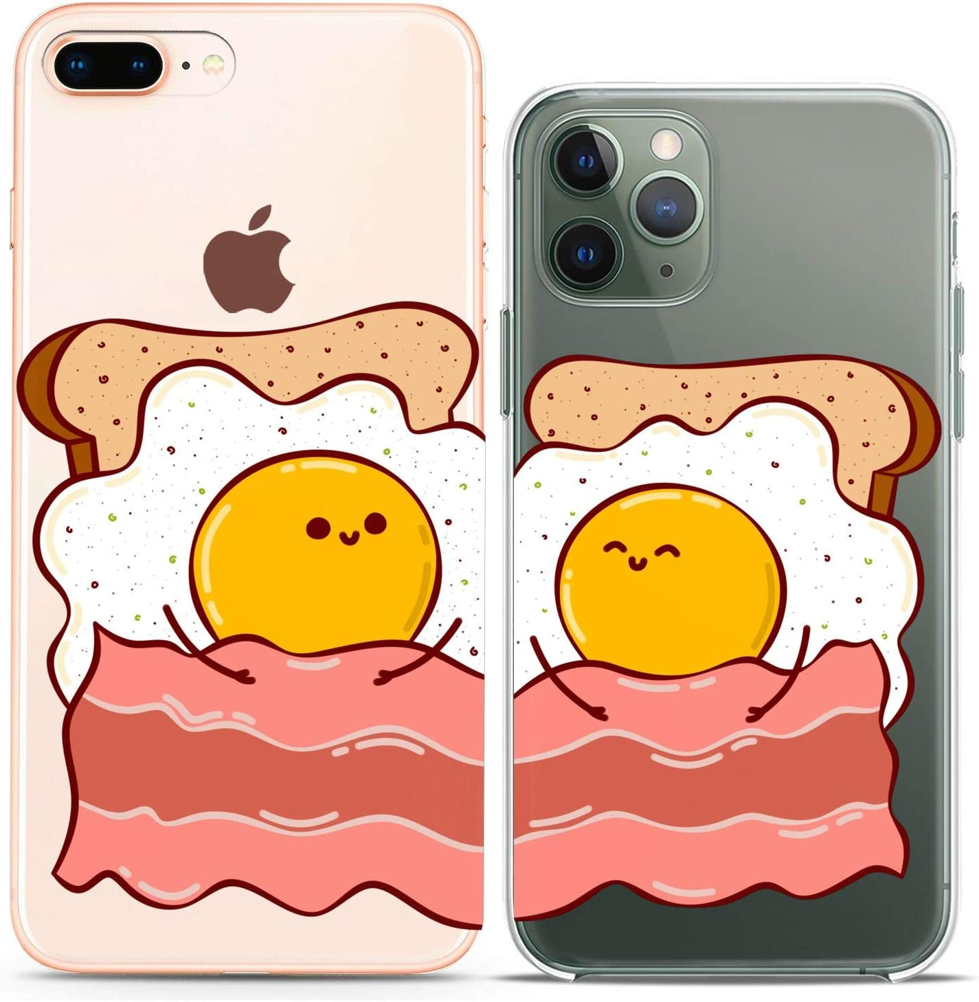 Cavka Matching Couple Cases Replacement for iPhone 12 Pro 5G Mini 11 Xs Max 6s 8 Plus 7 Xr 10 SE X 5 Eggs Flexible Bacon Toast Funny Sandwich Slim fit Cute Pair Soft Friends Clear Cover Print Design