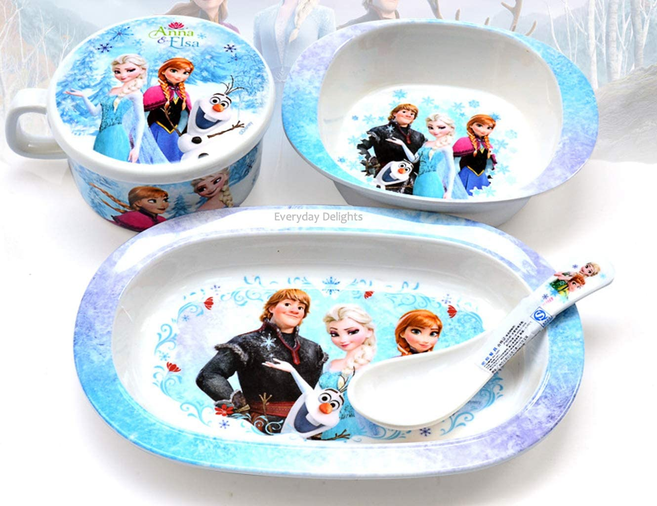 Disney Frozen Elsa Anna Dinnerware Flatware Meal Set for Girls – Plate Bowl Cup with Lid Spoon, 4 pieces