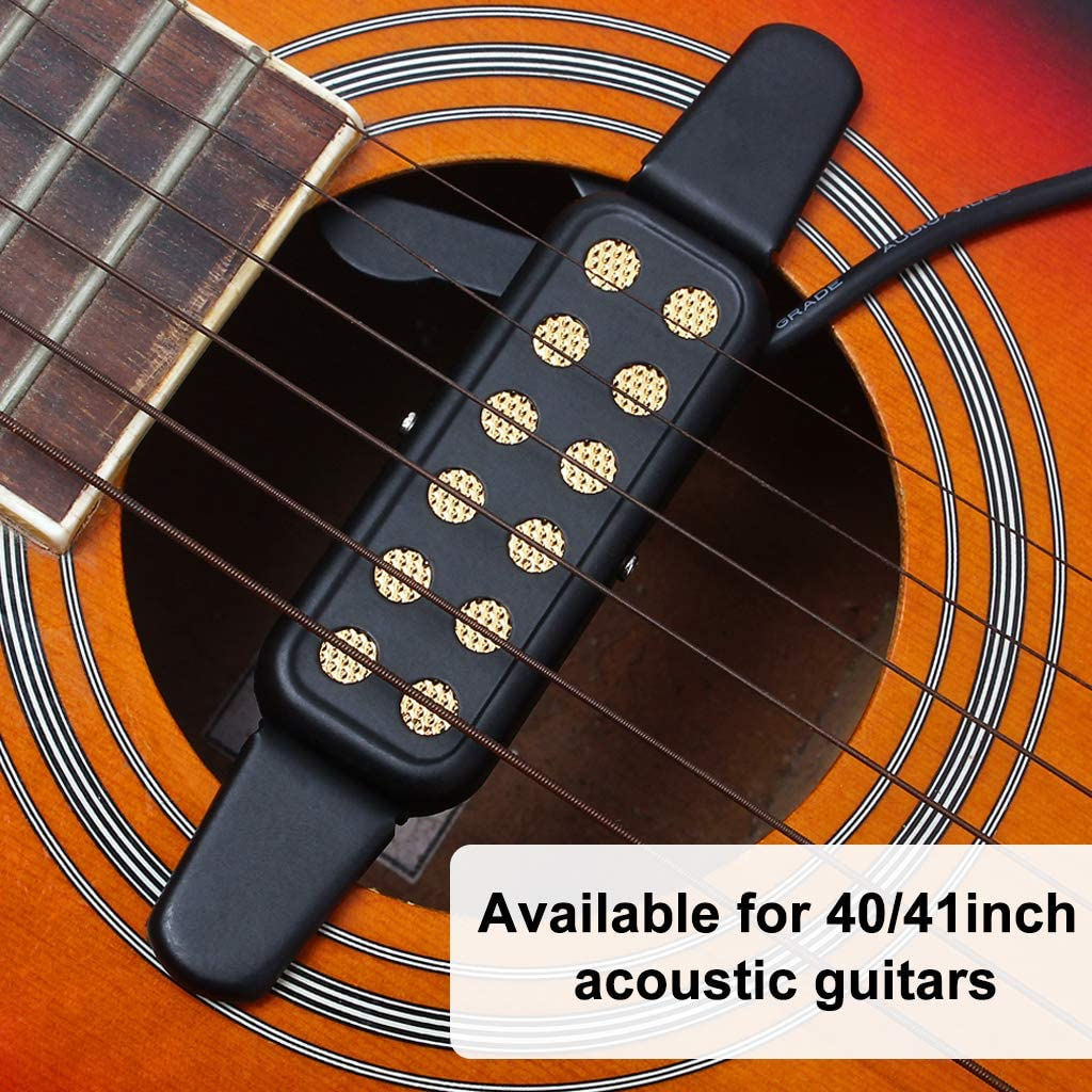 41inch Acoustic Classic Folk Guitars Alnicov Guitar Pickup 12-Hole Soundhole Transducer Amplifier with 10ft Cable 1//4inch Jack for 40inch