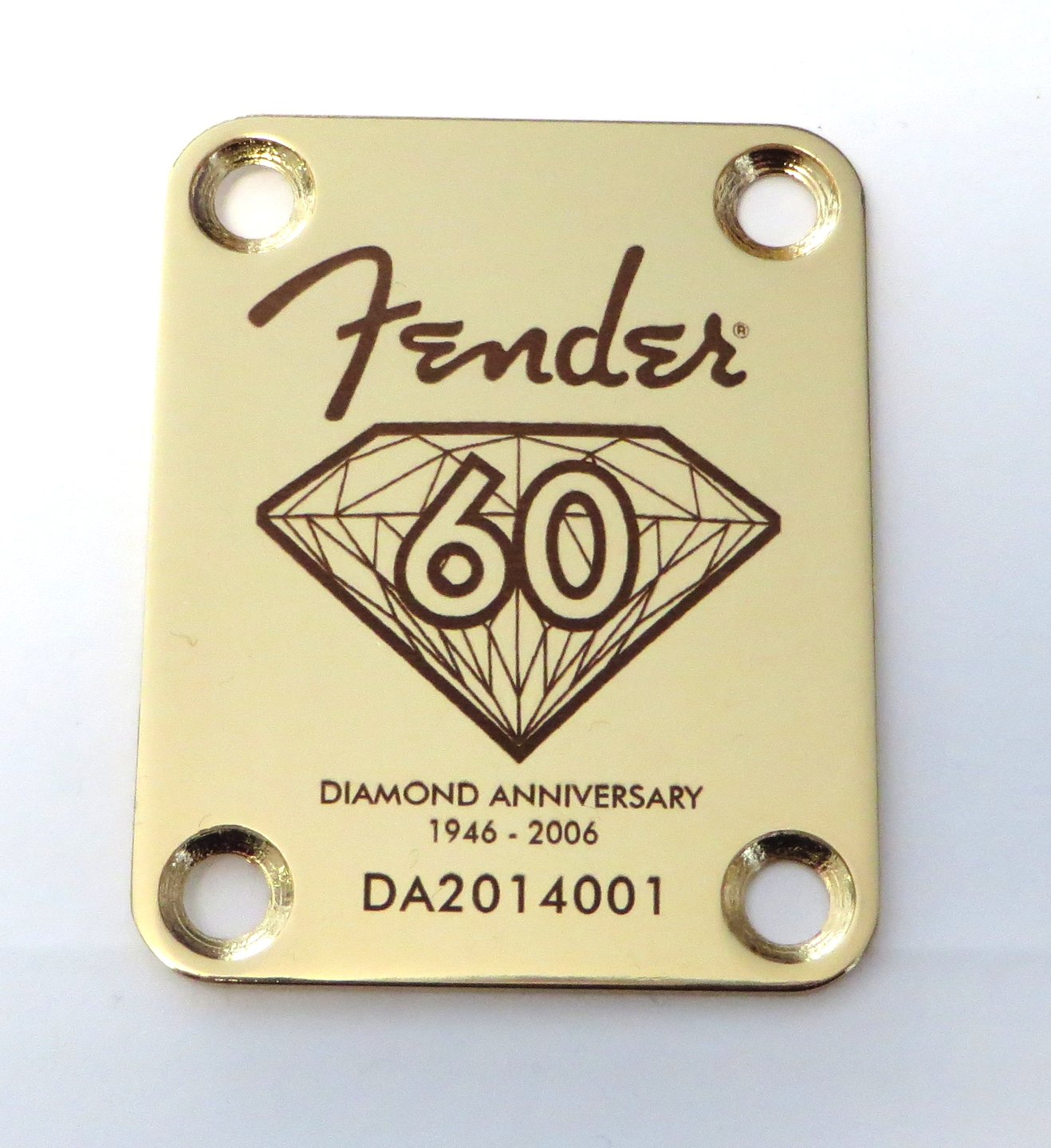 Fender Diamond 60th Anniversary Custom Engraved Neck Plate - Gold LazrArt 4334370499