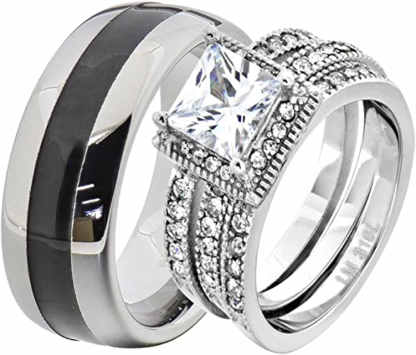 New Marquise CZ Solitaire Stainless Steel Black Wedding Ring Set Sizes 5-11