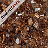 Blazing Fireglass 20-Pound Reflective Fire Glass with Fireplace Glass and Fire Pit Glass, 1/4-Inch, Copper