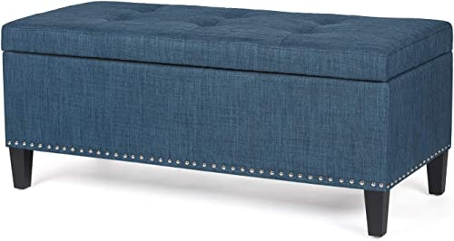 Homebeez Storage Ottoman Bench Tufted Fabric Footrest