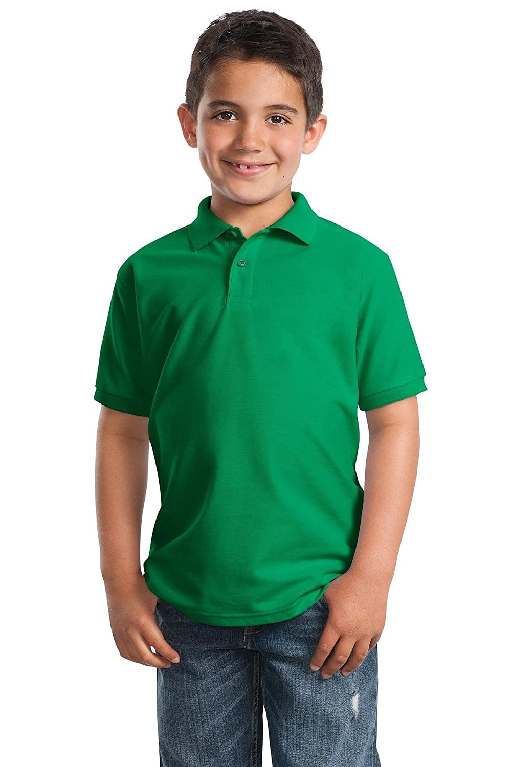 Y500 Kelly Green L Port Authority Youth Silk Touch Polo