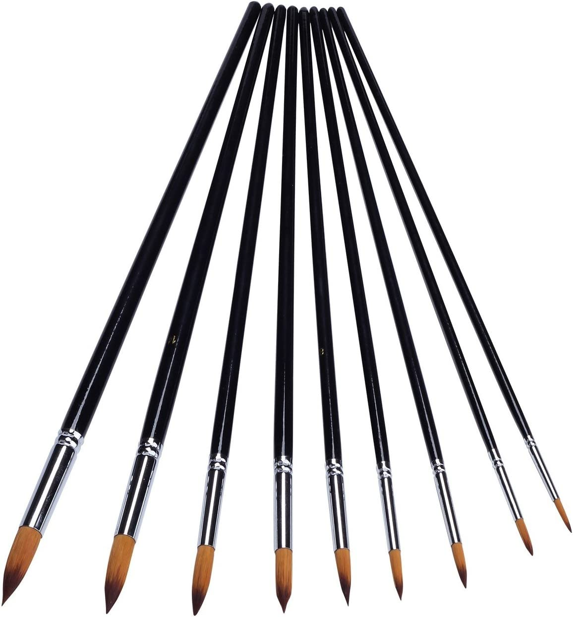9 pcs Artist Paint Brushes Nylon Filbert Painting Set For Acrylic Watercolor Oil