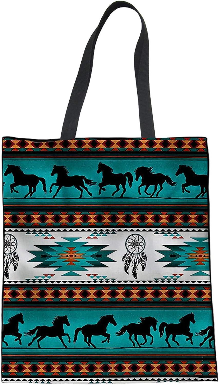 Hugding Southwest - Bolsa de lona con estampado de caballo azteca americano, atrapasueños nativos americanos en verde