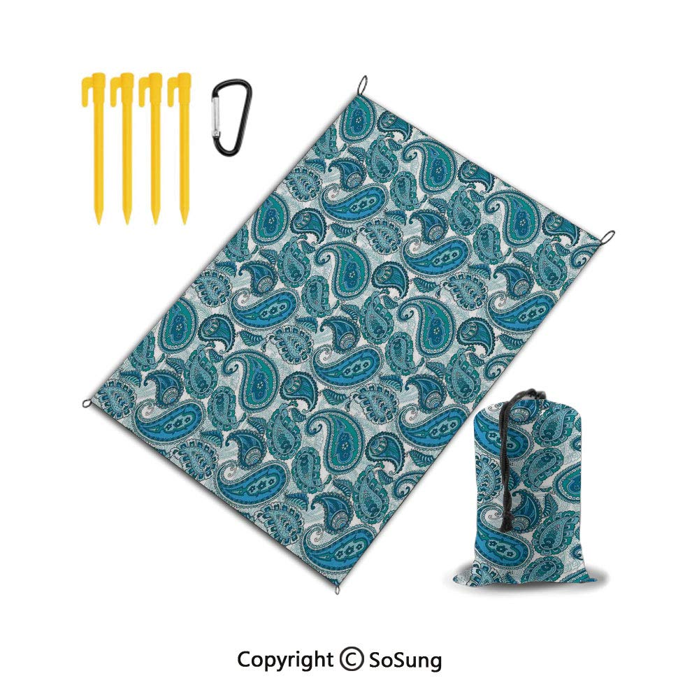 Beach Blanket Sand Proof & Outdoor Picnic Blanket - Water Resistant,Large Mat for Camping or Travel,Washable,Foldable,Easy Carry Compact Tote Bag,Paisley Decor,Ocean Inspired Design with Stripes and F by SOSUNG