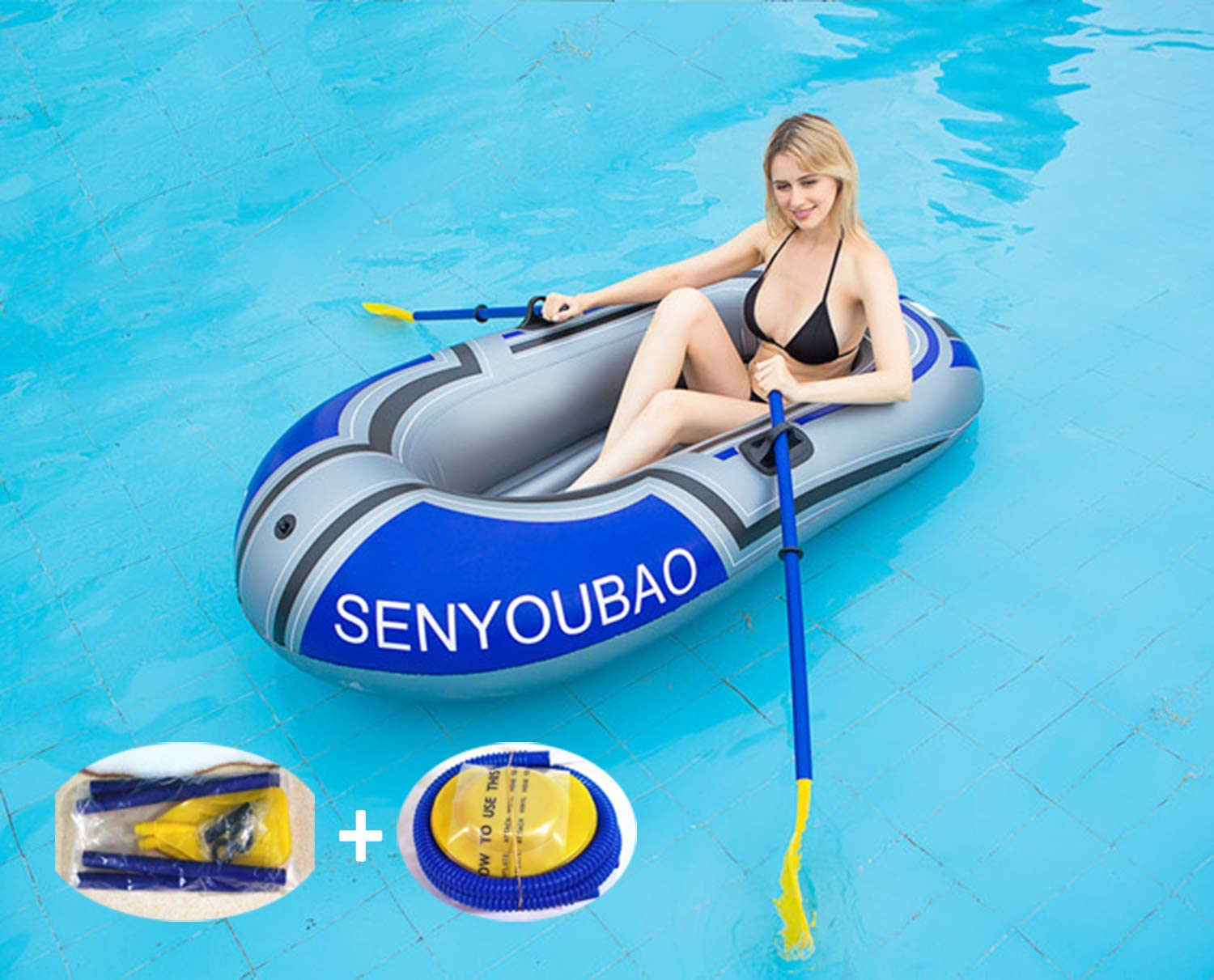 River Fishing Boat for 2 Adults and 1 Child Max Load 90 kg PVC Inflatable Kayak Canoe for Outdoor Drifting Fishing Traveling Inflatable Rubber Boat