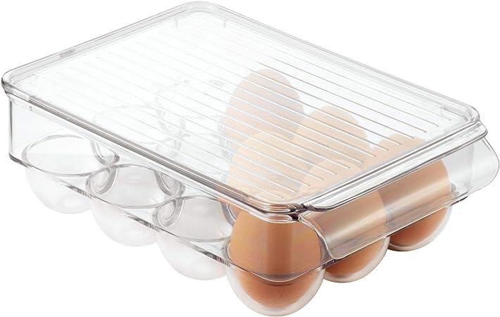 InterDesign Fridge//Freeze Binz Envase para huevos huevera de pl/ástico grande para 21 huevos caja de huevos transparente