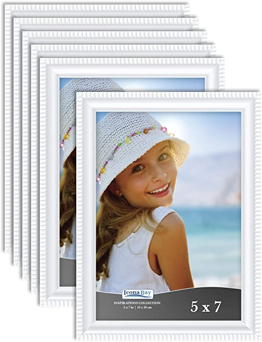 Amazon Com Icona Bay 5x7 Picture Frames White 6 Pack Beautifully Detailed Molding Contemporary Picture Frame Set Wall Mount Or Table Top Inspirations Collection