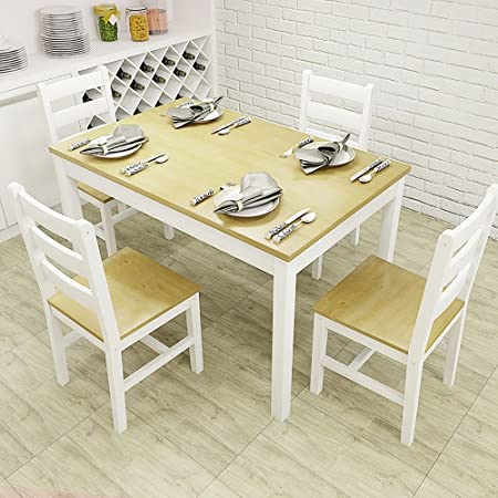 WarmieHomy Dining Table Chairs Kitchen With 4 Pine Wood Room Sets