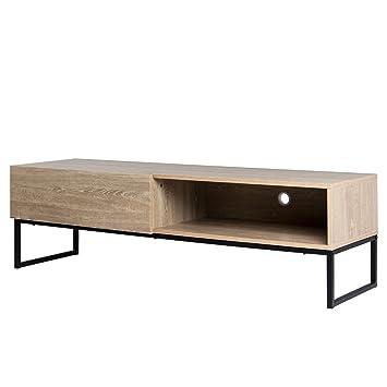 TV Sideboard Industrial Stil 150cm Eiche Sonoma Schwarz Lowboard TV Bank TV  Möbel Loft