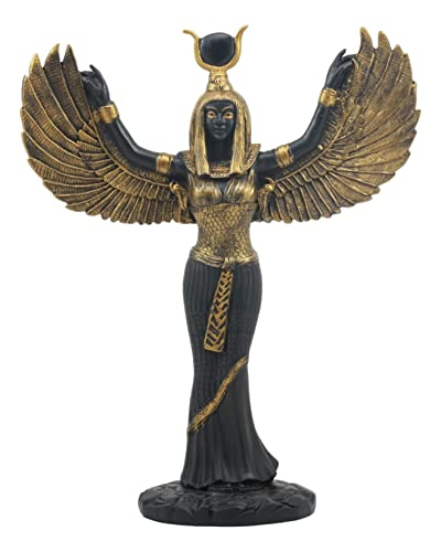 Ebros Gift Egyptian Goddess Isis Ra with Open Wings Statue 12 Tall Deity of Motherhood Magic Wisdom and Nature Home Decorative Sculpture Gods of Egypt Accent Black and Gold