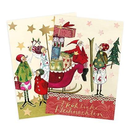 Juego de 2 tarjetas de felicitación en Navidad, Ángel ...