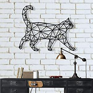 "Metal Cat Art, Metal Wall Art, Geometric Cat Decor, Wall Silhouette, Metal Wall Decor, Home Decoration, Living Room Decor (18""W x 14""H / 45x36 cm)"