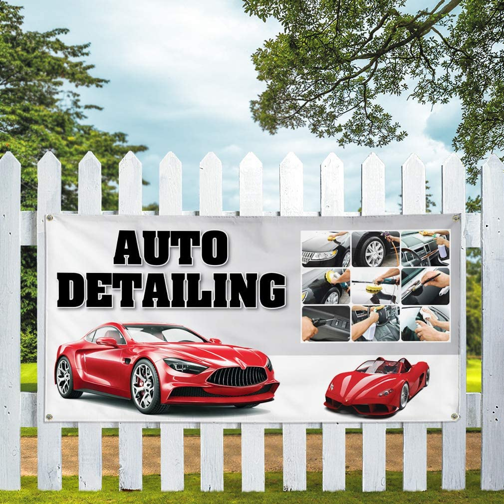 Vinyl Banner Multiple Sizes Car Stereo Installation Auto Vehicle Automotive Outdoor Weatherproof Industrial Yard Signs Aqua-Blue 8 Grommets 48x96Inches