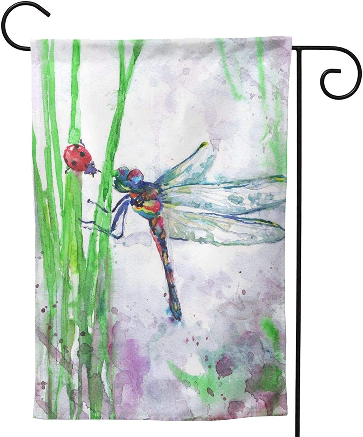QNOQME Watercolor Dragonfly and Ladybug Garden Flags Vertical Double Sided Yard Banner for Outdoor Decorations(Multi-Code)
