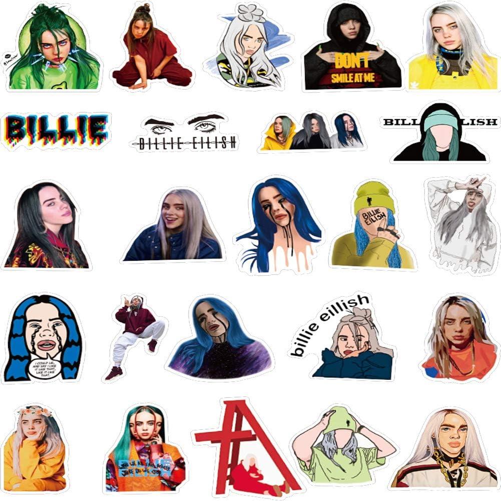 S/änger Billie Eilish Aufkleber f/ür Wasserflaschen Billie Eilish-100