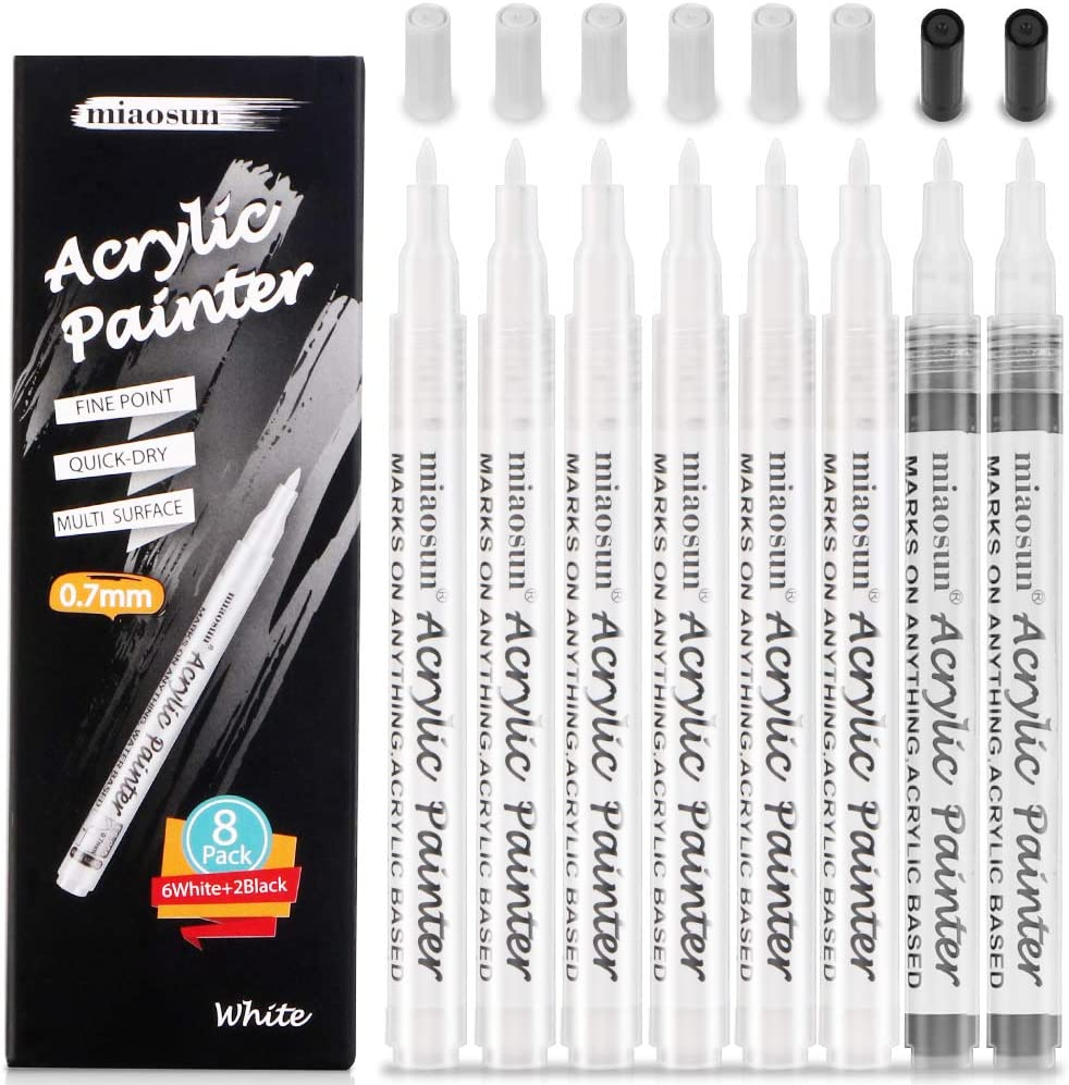 White Paint Pen,8Pack (6Pack White and 2Pack Black)0.7mm Acrylic Paint pens White Permanent Marker for Rock Painting, Stone, Ceramic, Glass, Wood by miaosun.