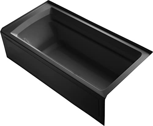 Kohler K-1125-RA-7 Archer 6Ft Bath with Comfort Depth Design, Integral Apron and Right-Hand Drain, Black Black