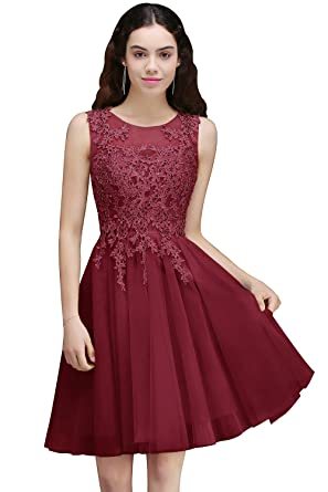 e561adc647db Babyonlinedress Lace Tulle Prom Dresses Short V Back Bridesmaid Homecoming  Gown (Burgundy,2)