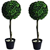 Christmas Concepts® 2 x 71cm Solar Powered Topiary Tree In Plant Pot With Warm White LED Lights