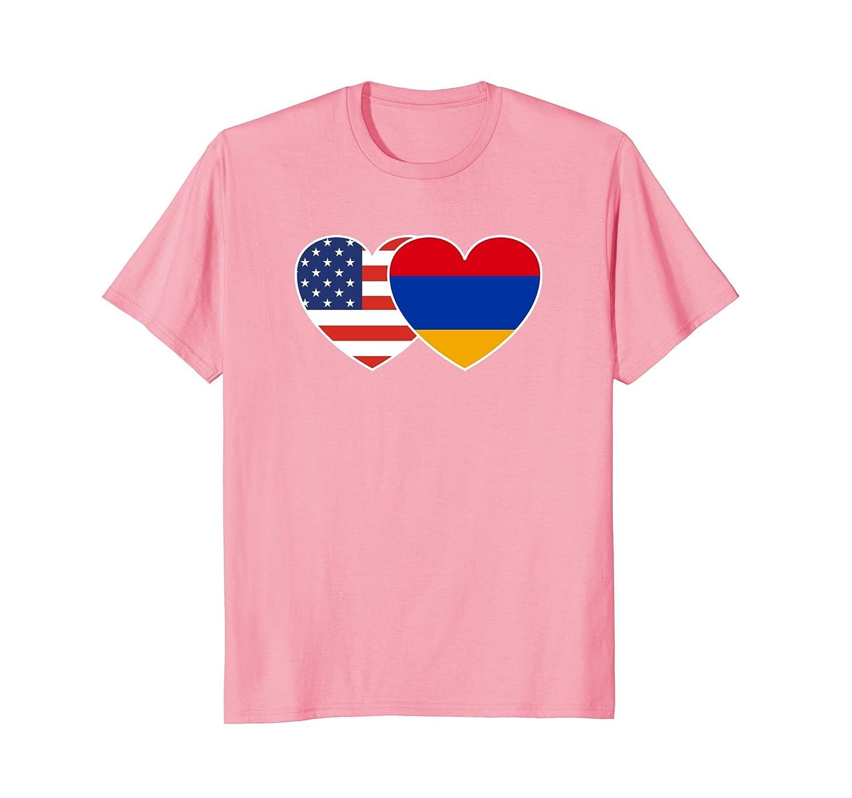 Armenia USA Flag Twin Heart T Shirt for Armenian Americans-TH
