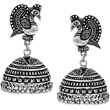 V L Impex Dancing Peacock Black Metal Silver Palted Oxidized Jhumki Earrings For Women