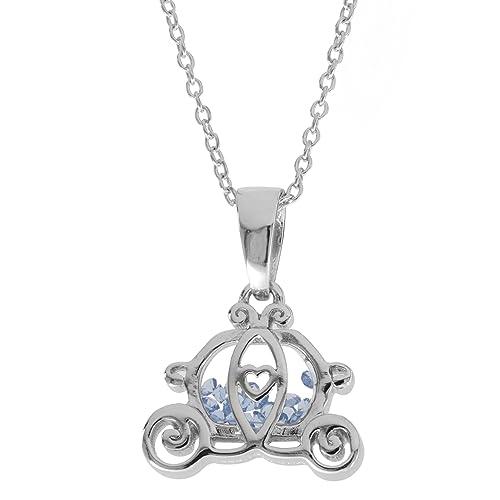 Amazon.com: Plata de ley Disney Princess Carriage de vidrio ...