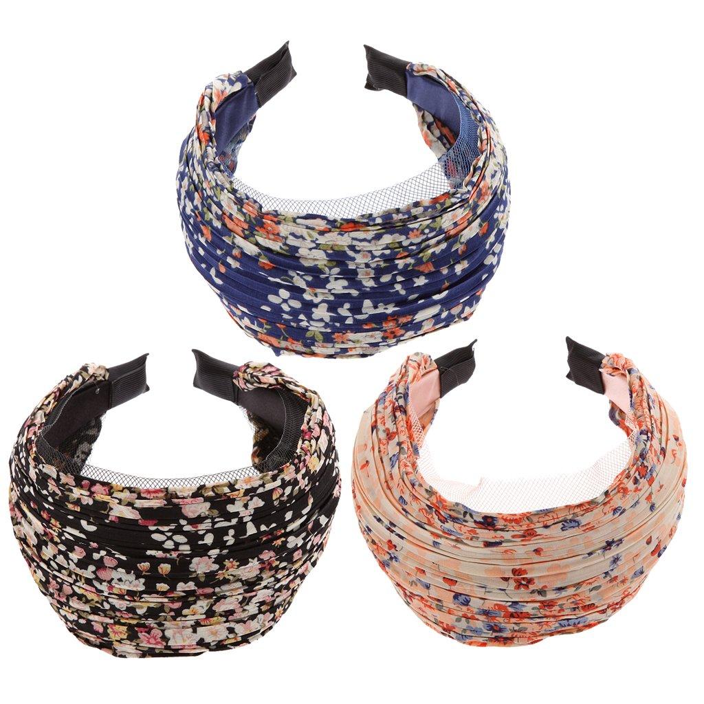 MonkeyJack Pack of 3 Wide Fashion Headbands Lace Flower Cloth Headband for Women Girls