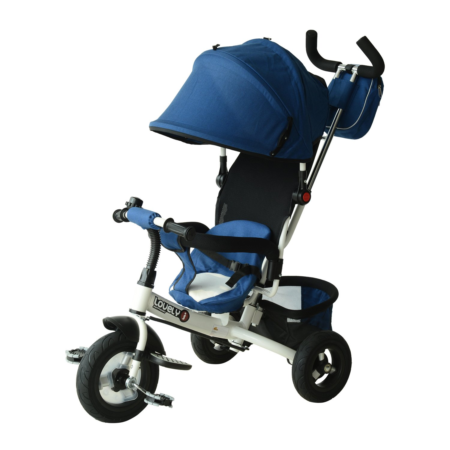 Qaba 2-in-1 Lightweight Steel Adjustable Convertible Tricycle Stroller - Blue by Qaba