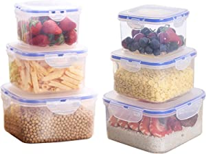 Papu Food Storage Containers with Lids Plastic Bento Box Multiuse Leak Proof Food Container 279oz (12-Piece, BPA Free, Microwave, Freezer and Dishwasher Safe)