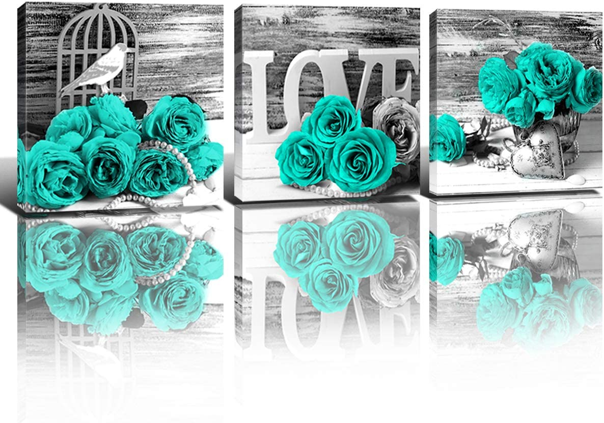 Bedroom Wall Decor Teal Blue Rose Wall Art Turquoise Floral Canvas Prints  for Bathroom Black and White Still life Flower Modern Frame Pictures Home
