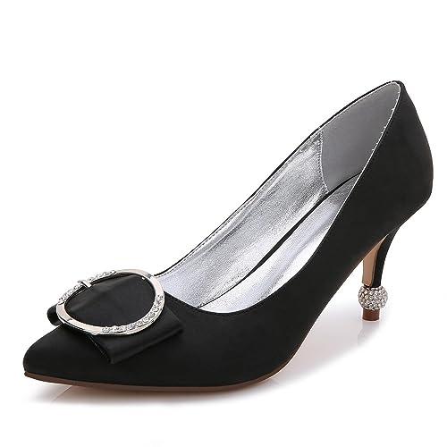 L YC Chaussures à Talons Hauts pour Femmes B-17767-41 Fermer Toe Tip Printemps Automne Silk Custom-Made Chaussures Grande Taille pour Le Mariage, Champagne, 37