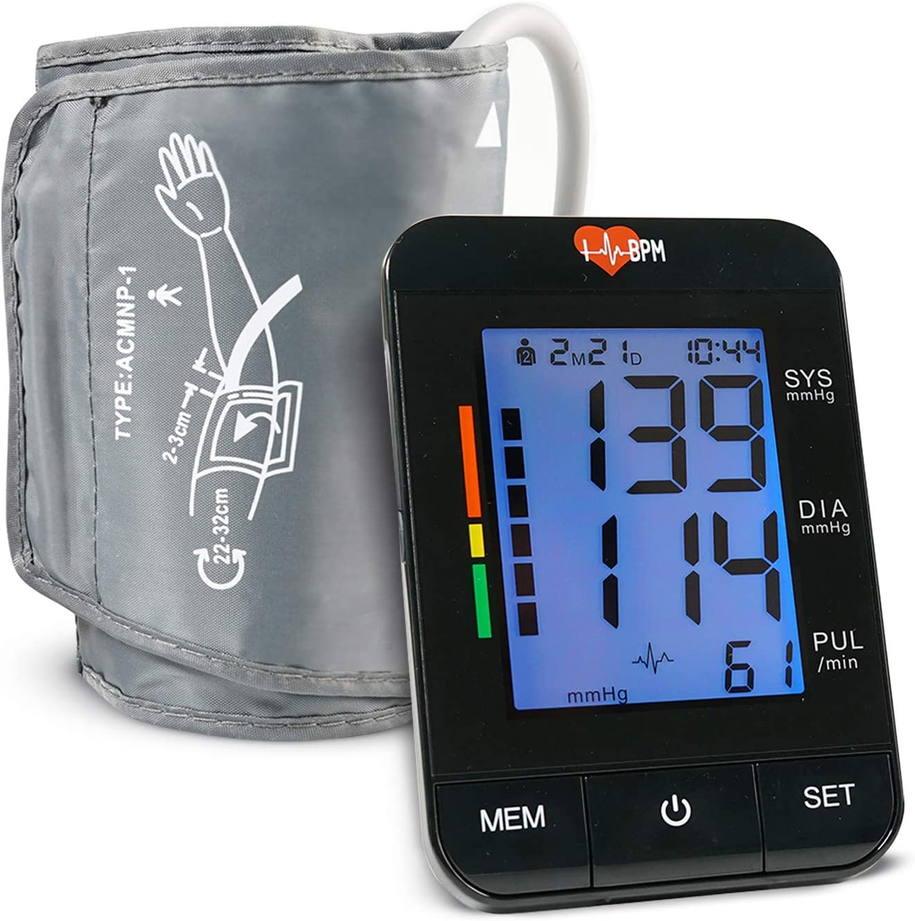 IHeartBPM Blood Pressure Monitor Automatic BP Monitor with Blood Pressure Cuff Heart Rate Monitor for Ages 12 and Up Accurate Digital Blood Pressure Monitor Tracks 2 Users Records for 90 Days