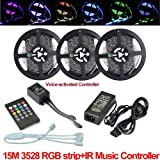 Firstsd Full kit 49.2ft (15M) LED RGB SMD 3528 Light Strip Color Changing Waterproof IP65 Flexible DC 12V + IR Remote music Sound Sensor controller +5A Power Supply