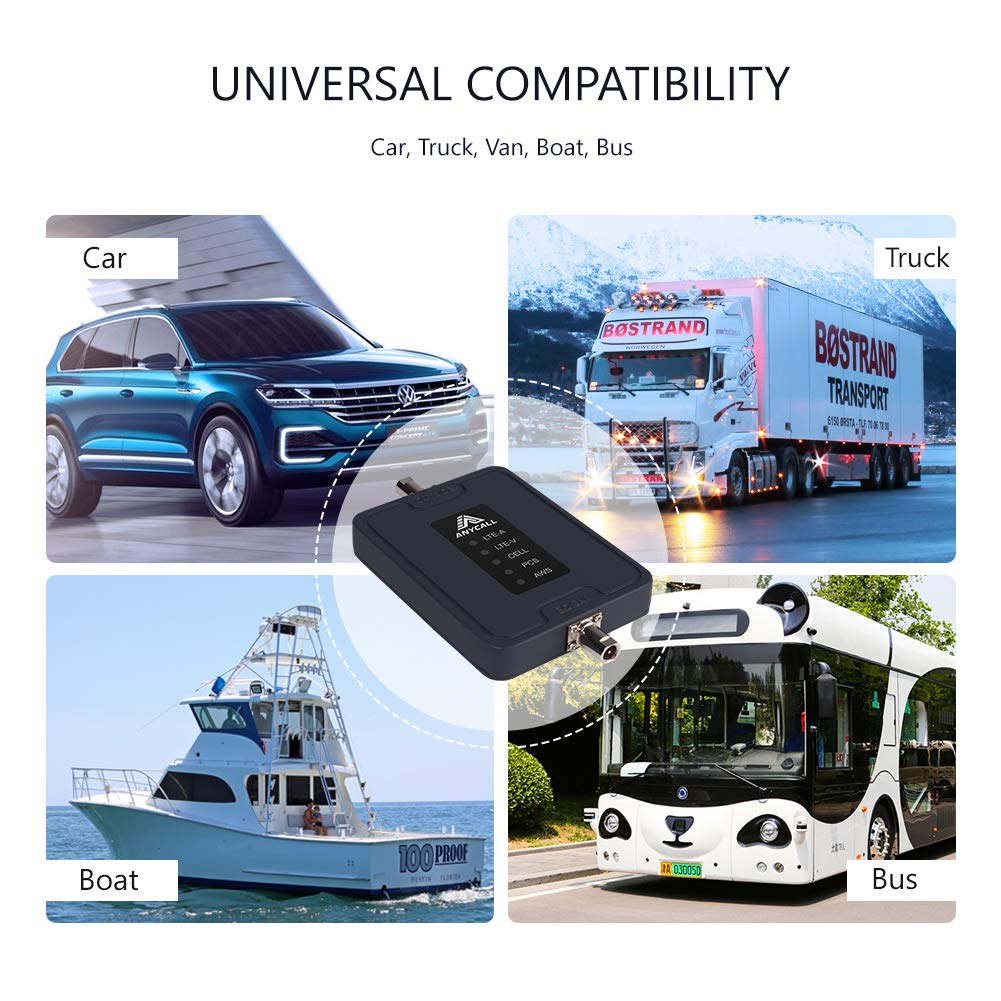 Supports Multi Devices Multiple Band Repeater Kit for All Carriers Verizon AT/&T 2G 3G 4G LTE Voice and Data Vehicle Use Truck Cell Phone Signal Booster for Car