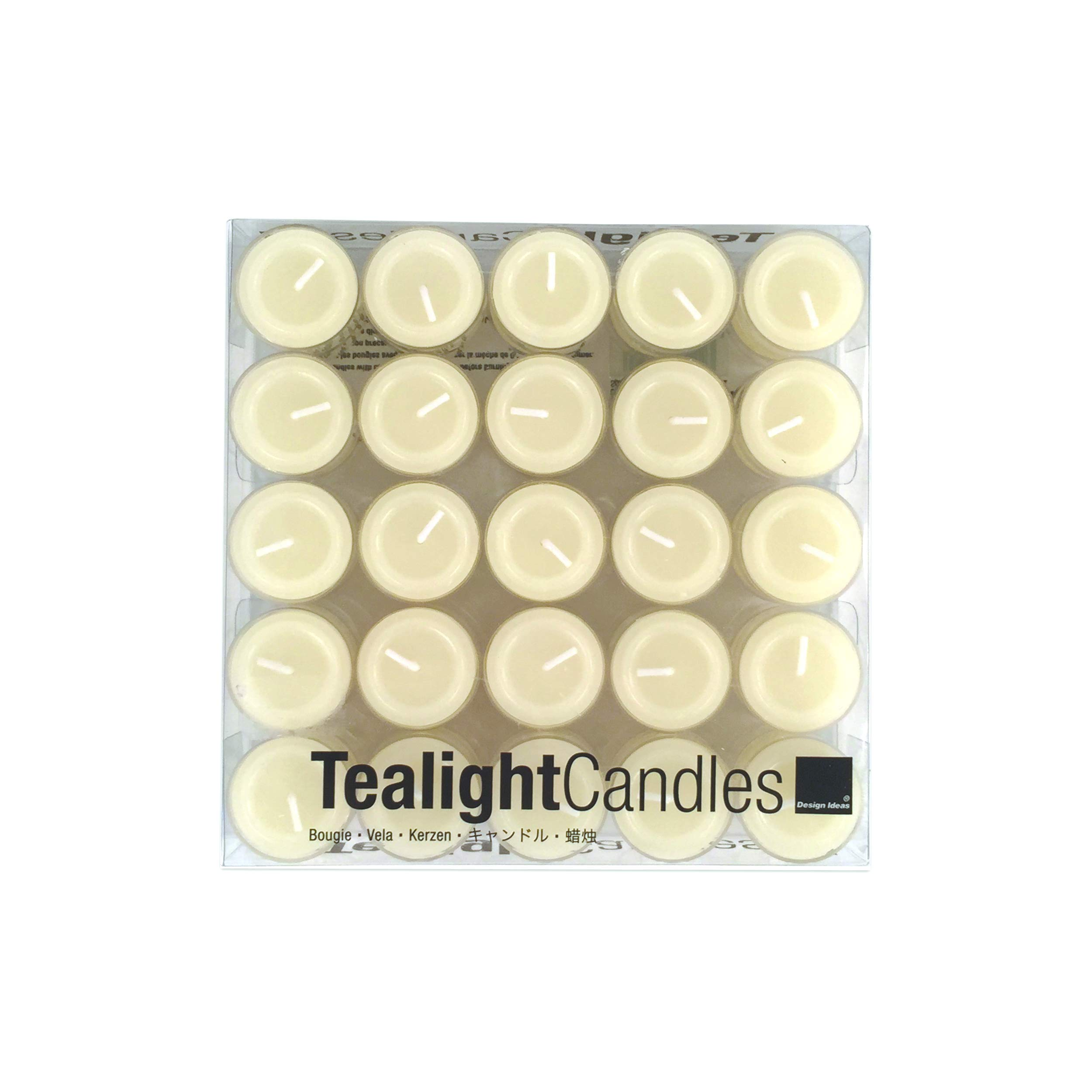 Design Ideas 912034 Clear Cup Tea Lights, Ivory, Box of 50