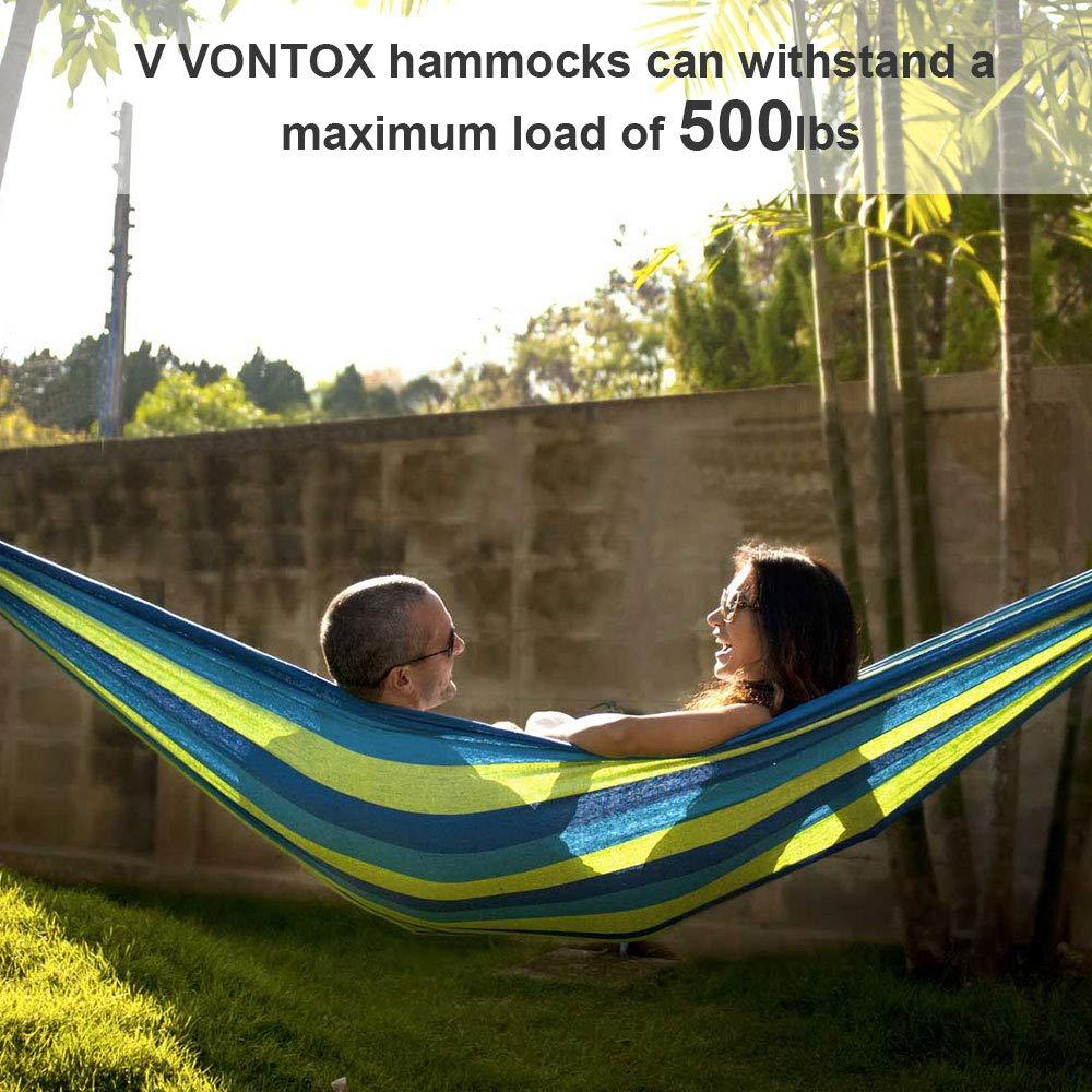 V VONTOX Amaca Doppia Ampio 150 cm x 250 cm Amaca da Giardino Ultraleggera e Ultraresistente di Sopportare 500 Libbre per Il Viaggio Il Campeggio