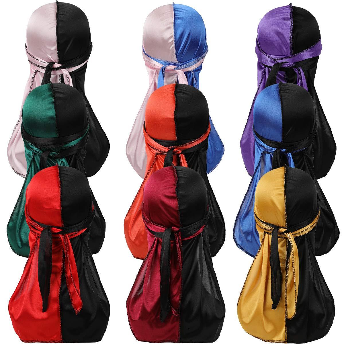 YI HENG MEI 2PCS/3PCS 360,540,720 Waves Color Block Silky Long Tail Durag Bandana Turban (561-Group 9(9 Pieces))