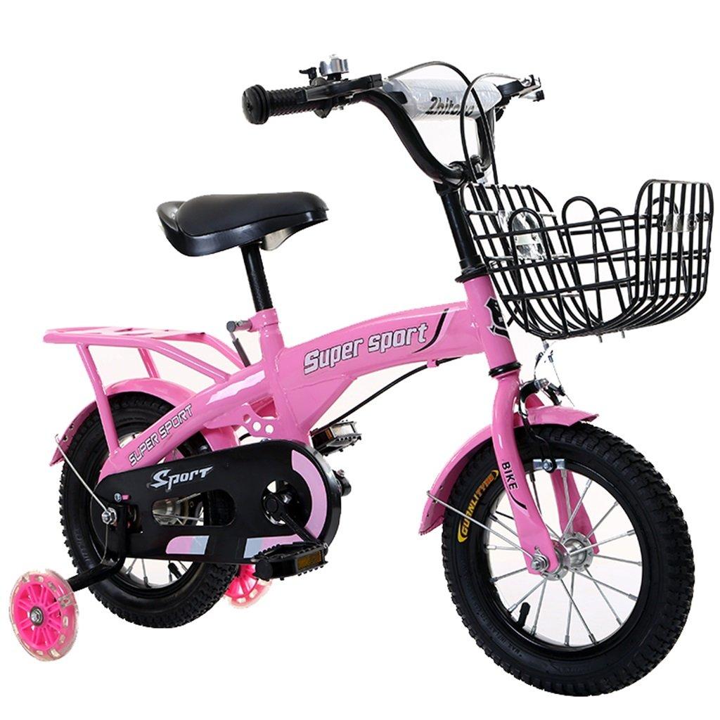 KANGR-子ども用自転車 子供用自転車アウトドアマウンテンバイク2-3-6-8ボーイズとガールズ子供用おもちゃ調節可能ハンドルバー/フラッシュトレーニングホイールとシート付きサドル-12 / 14/16/18インチ ( 色 : ピンク ぴんく , サイズ さいず : 16 inch ) B07BTZFP7C 16 inch|ピンク ぴんく ピンク ぴんく 16 inch