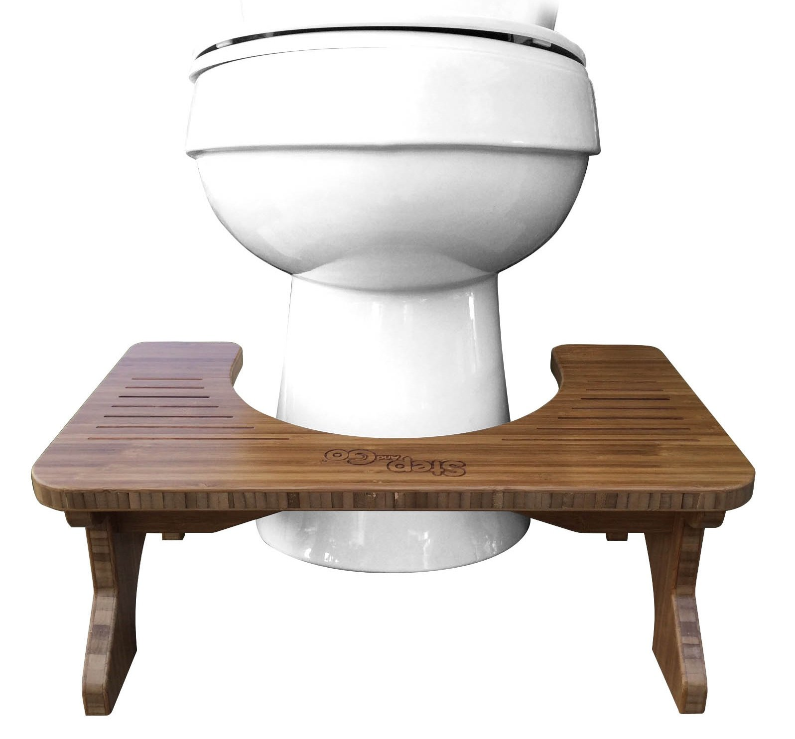 Step and Go Bamboo Squatting Toilet Stool for Potty Aid (7'' and 9'')