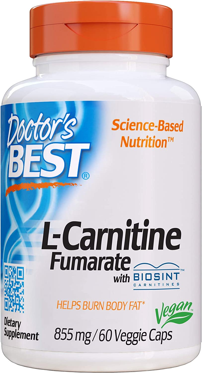 Doctor's Best L-Carnitine Fumarate, Non-GMO, Vegan, Gluten Free, Heart Health, 855 mg, 60 Count Veggie Caps: Health & Personal Care