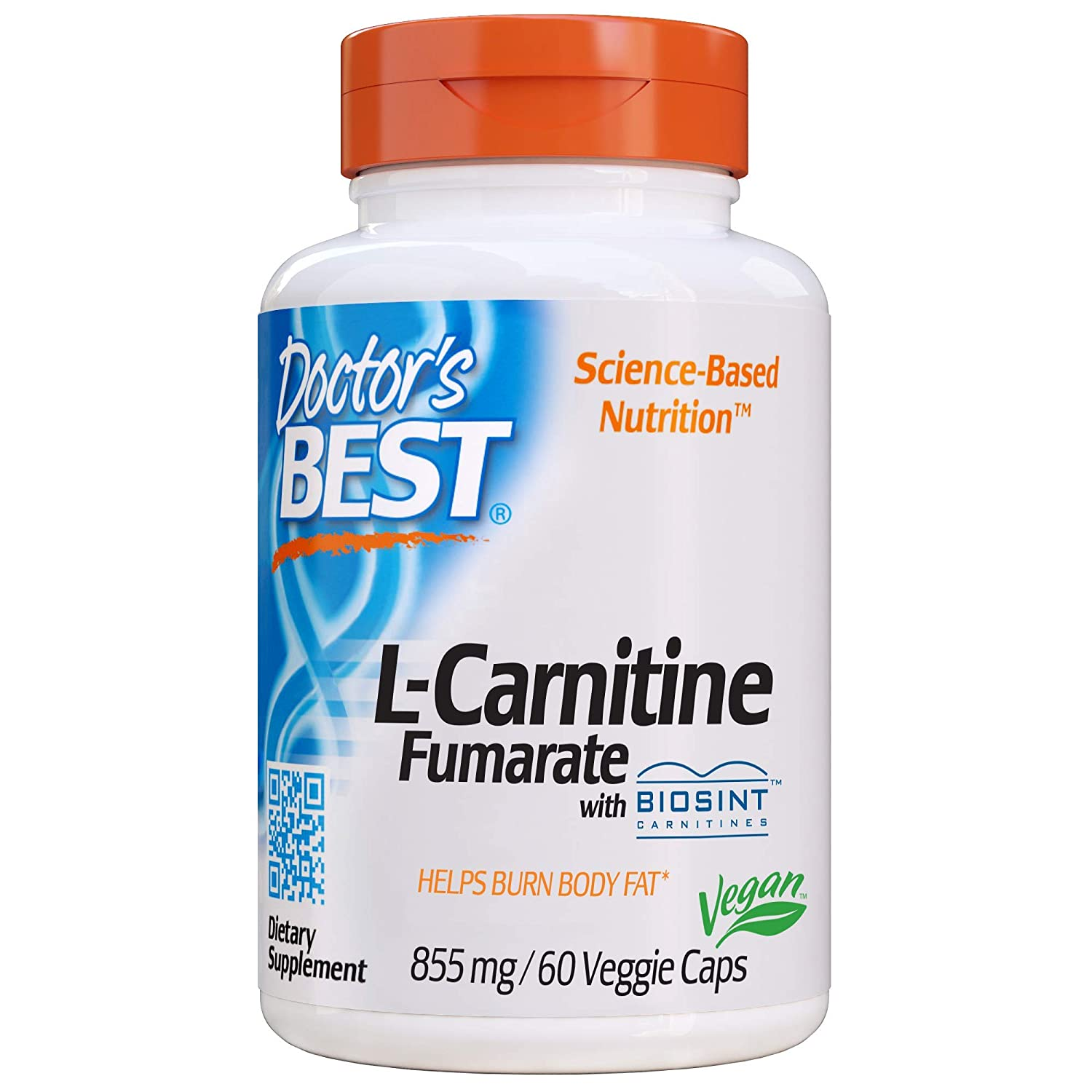 Doctor's Best L-Carnitine Fumarate, Non-GMO, Vegan, Gluten Free, Heart Health, 855 mg, 60 Count Veggie Caps