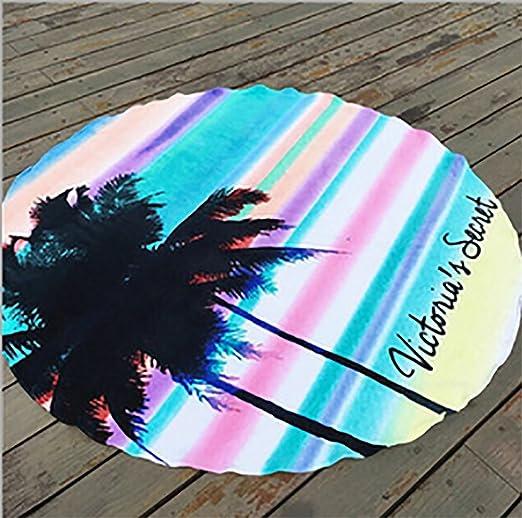Fibra redonda de microfibra playa borlas de impresión alfombra toalla de baño Picnic manta: Amazon.es: Deportes y aire libre