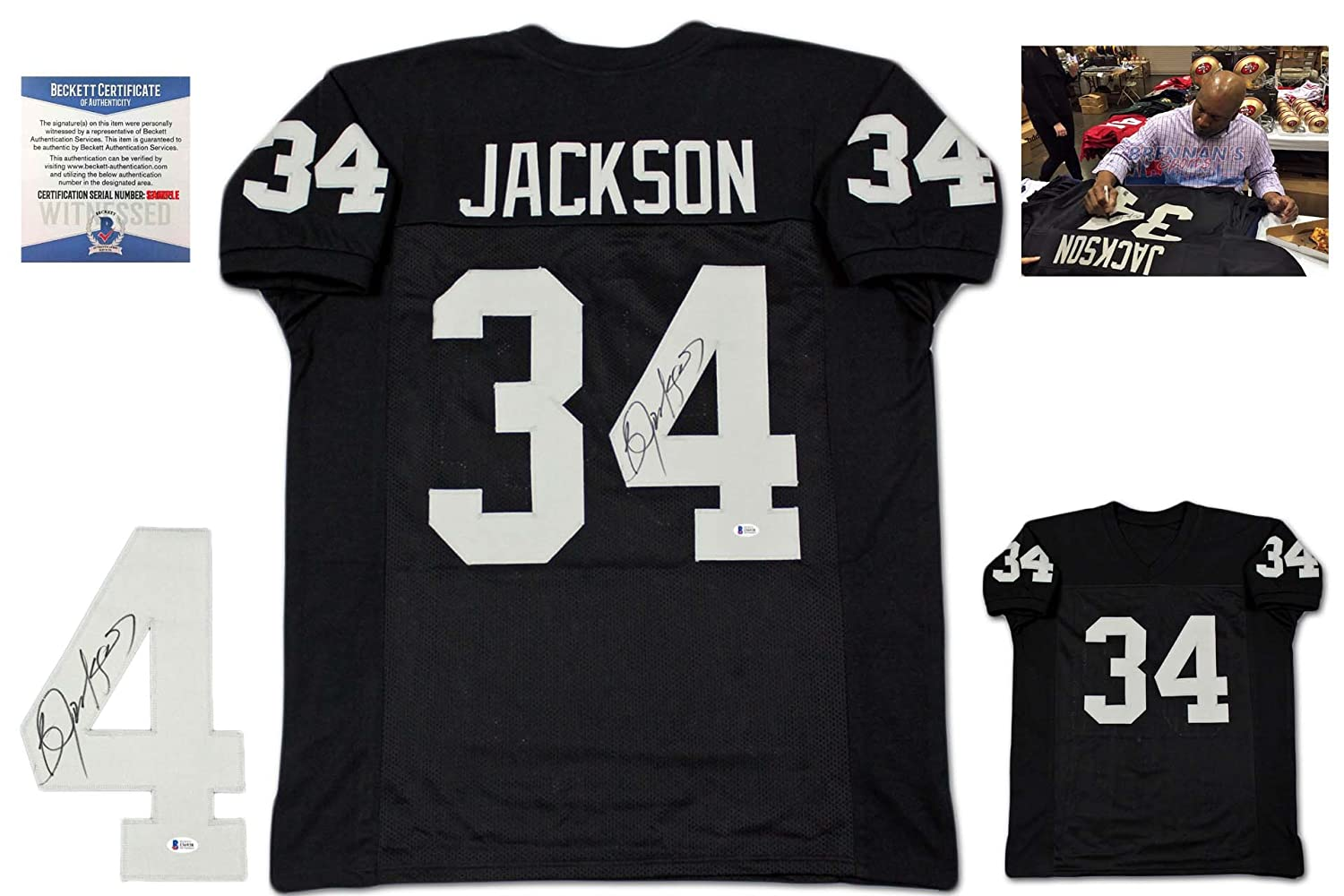 5b9d9a21e50 Bo Jackson Autographed Signed Jersey - Beckett Authentic - Black at  Amazon s Sports Collectibles Store